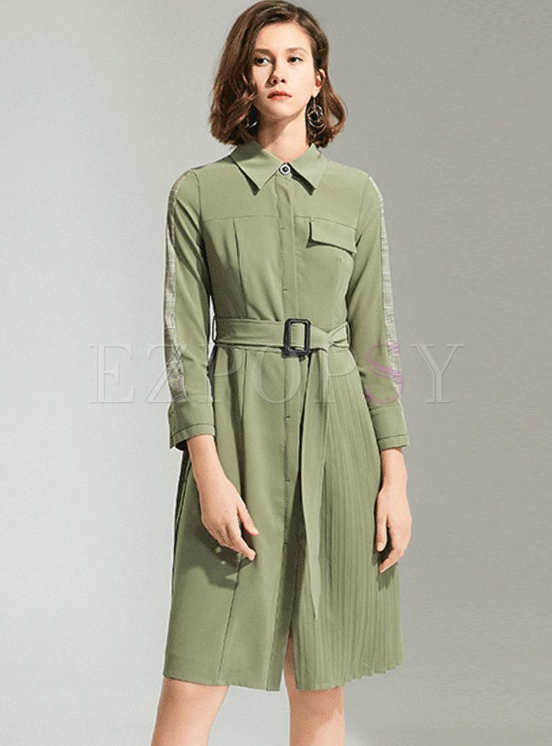 Turn-down Collar Long Sleeve Pleated Shirt Dress