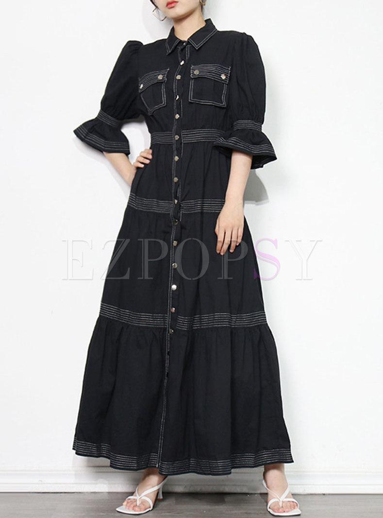 Turn-down Collar Half Sleeve Single-breasted Maxi Dress