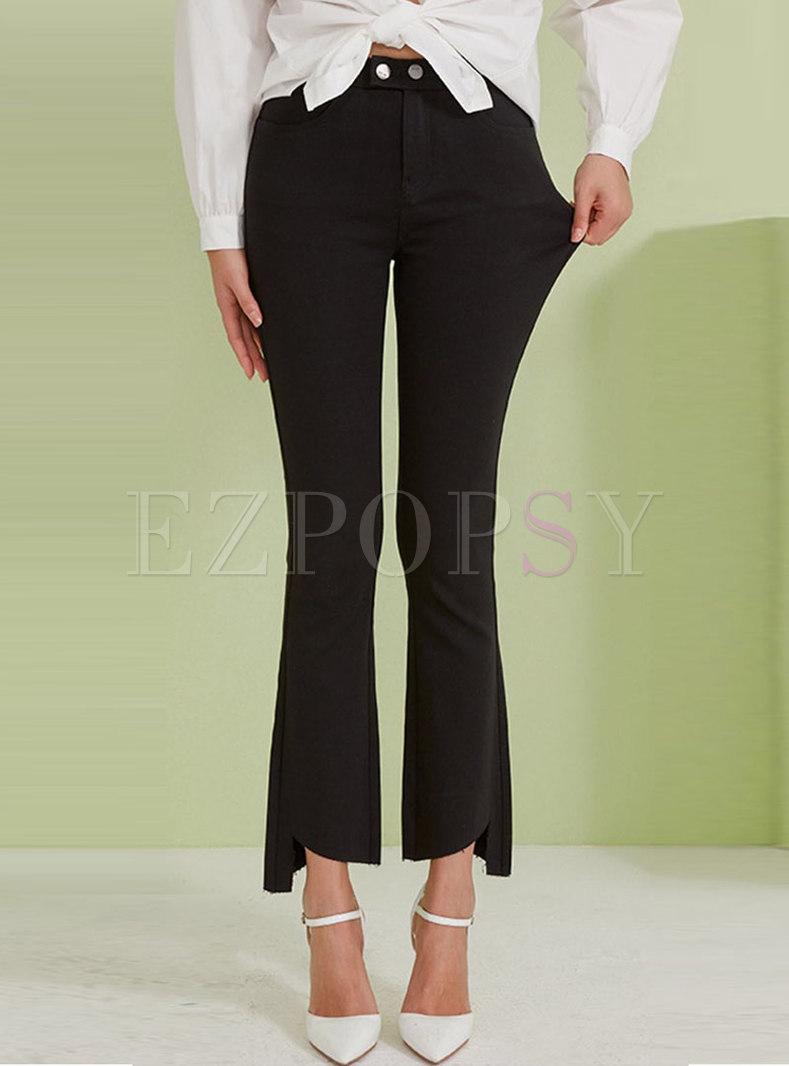 Black High Waisted Asymmetric Flare Leggings