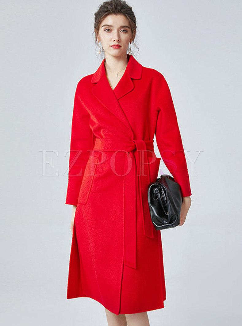 Lapel Double-cashmere Long Split Overcoat