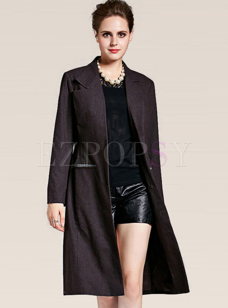 Black Faux Wool Winter Coat With Pockets