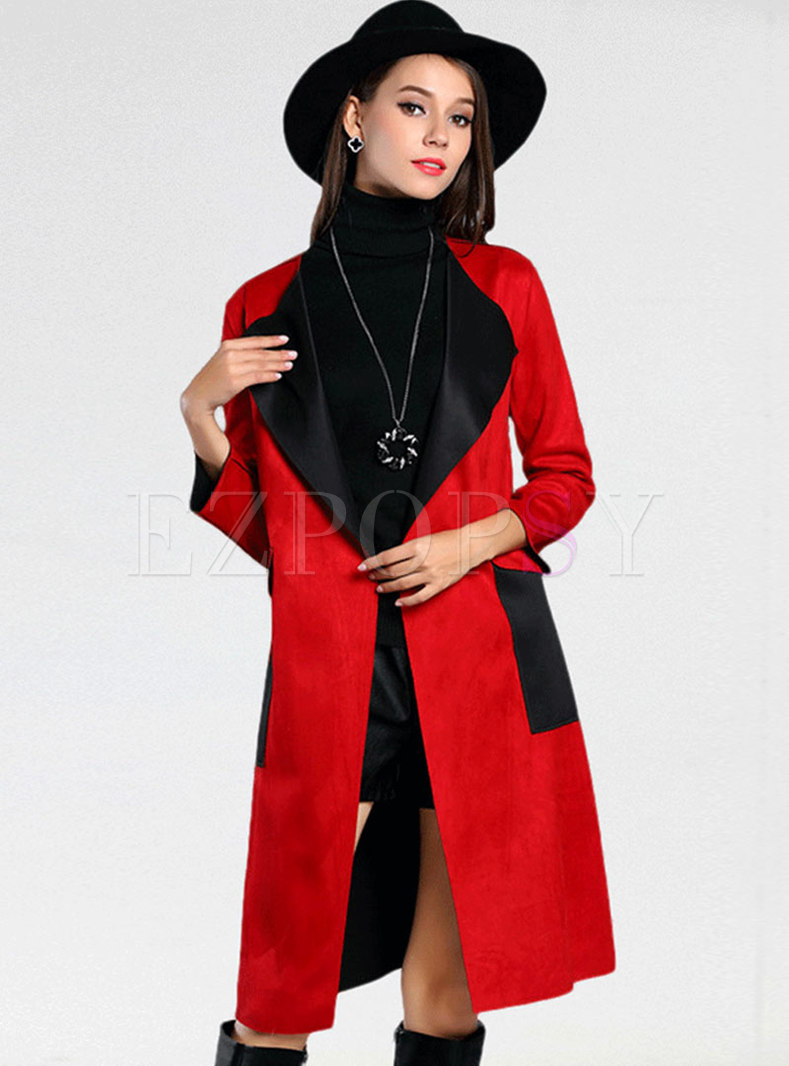 Long Sleeve Petite Trench Coat With Flap Pockets