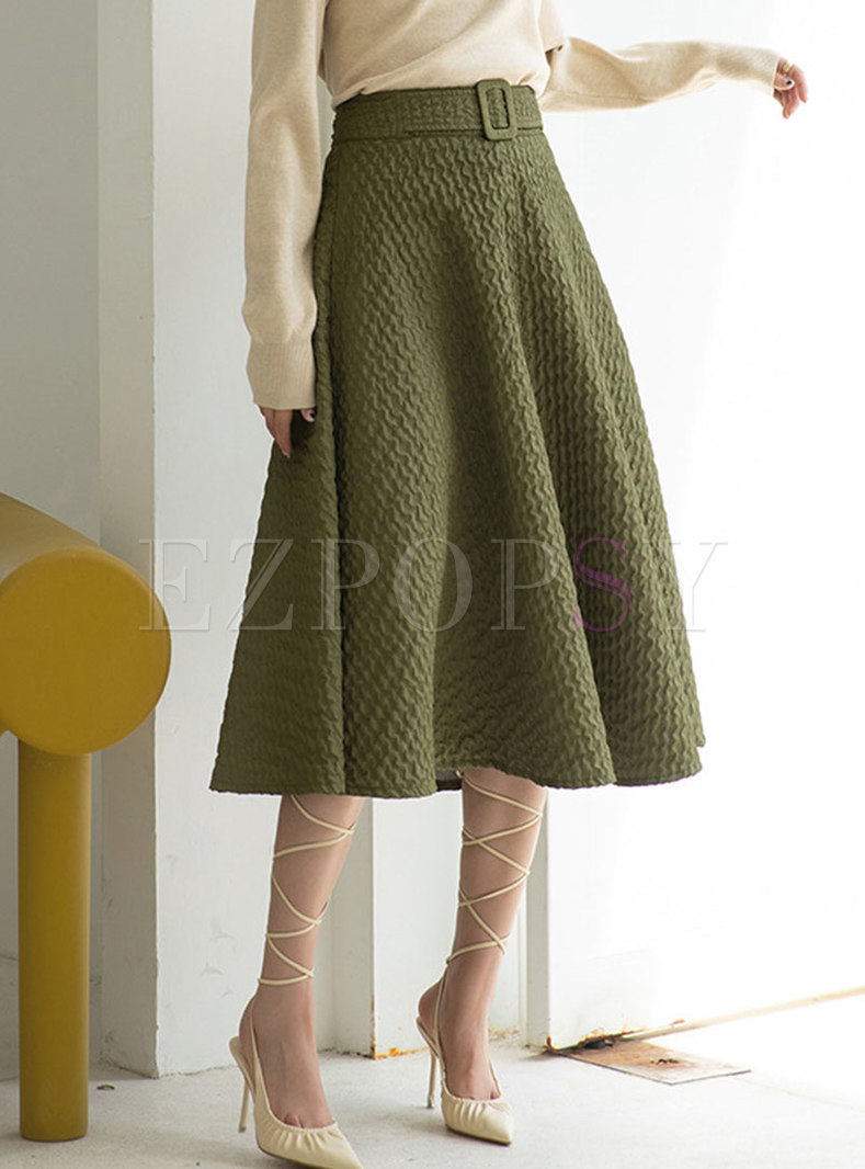 High Waisted Big Hem Midi Skirt