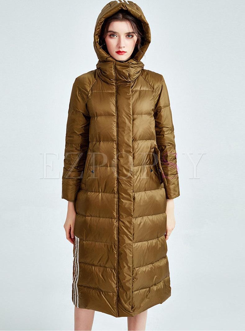 Mock Neck Removable Hooded Long Puffer Coat