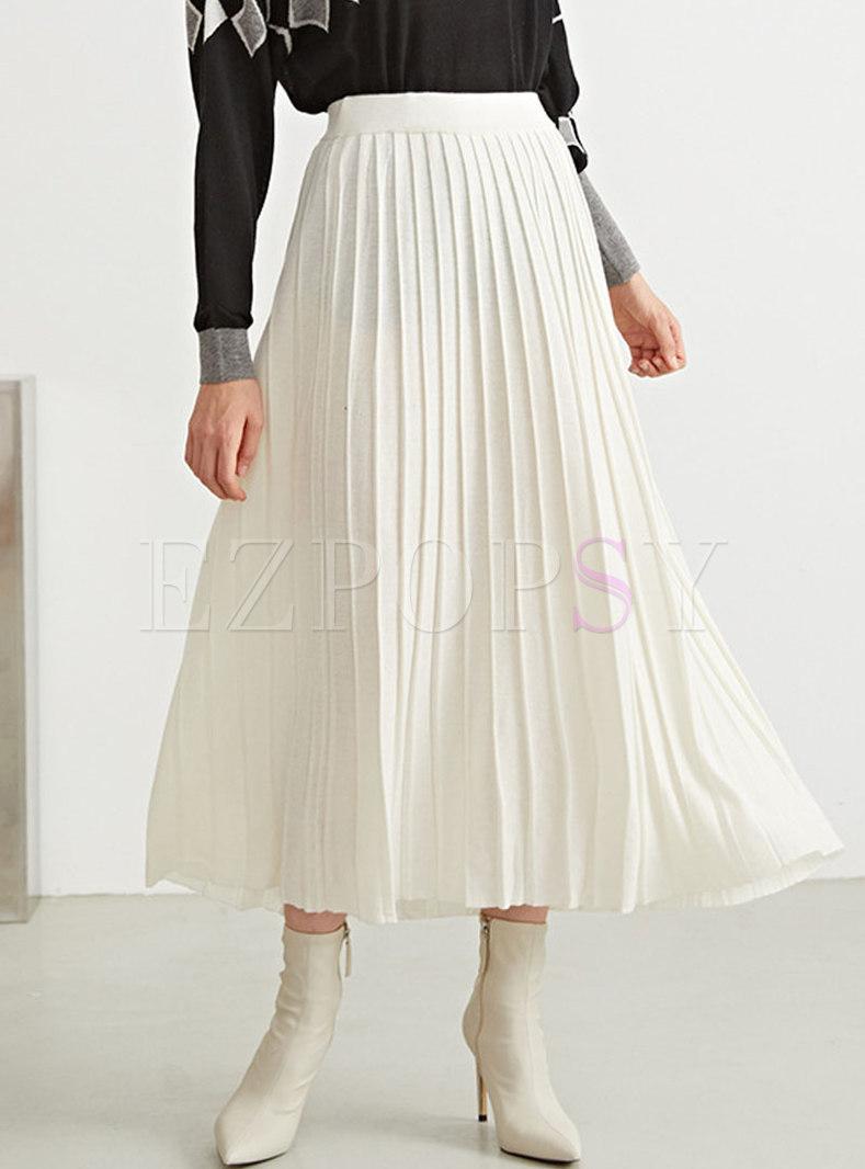 High Waisted Big Hem Pleated Long Skirts