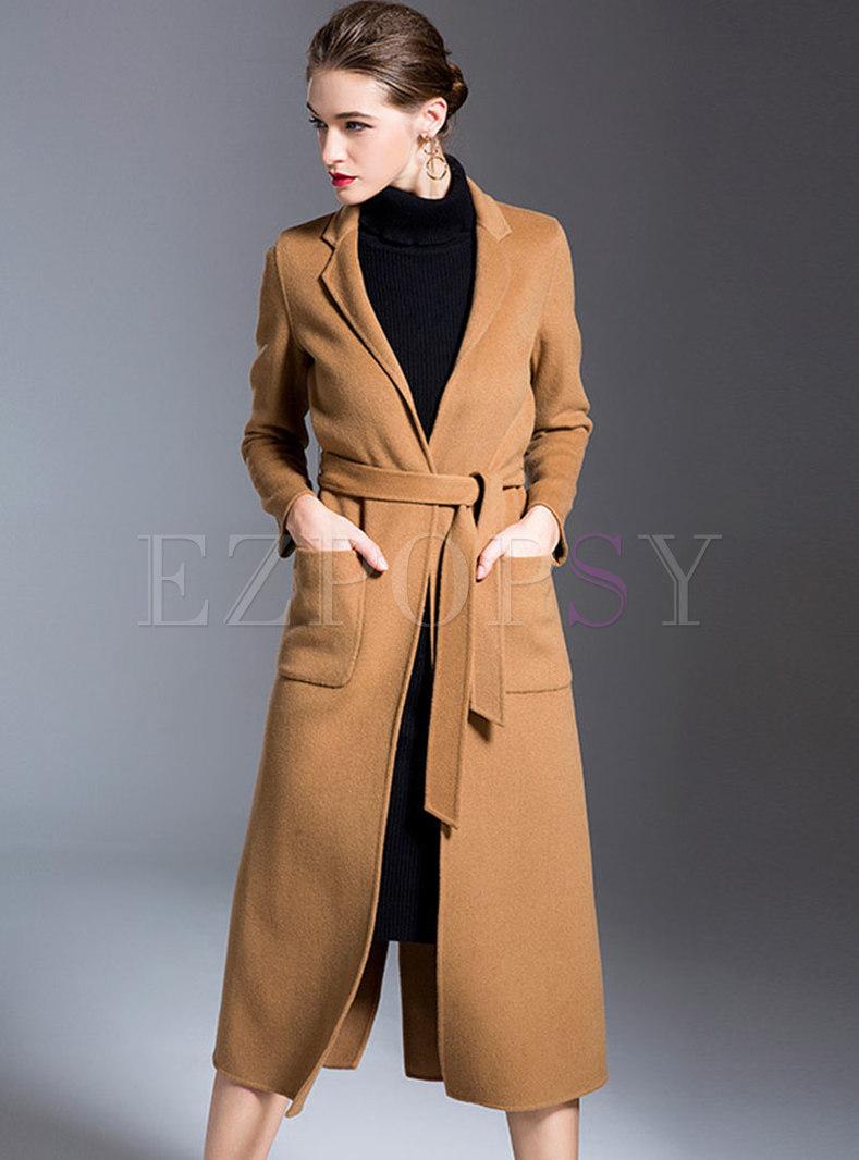 Notched Collar Back Split Wrap Long Wool Overcoat