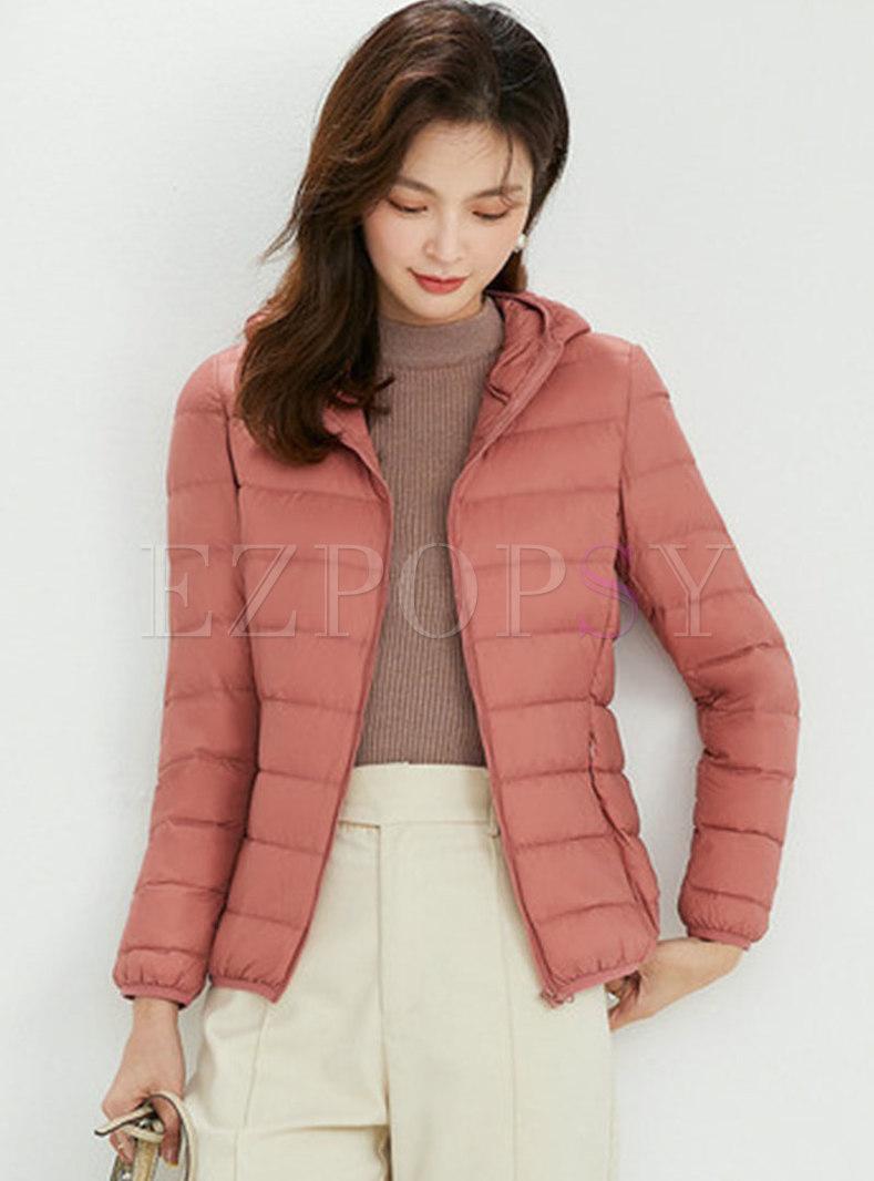 Hooded Lightweight Plus Size Puffer Jacket