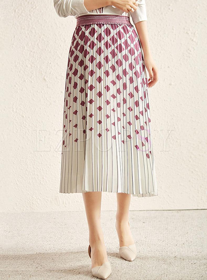 High Waisted Geometric Print Pleated Maxi Skirt