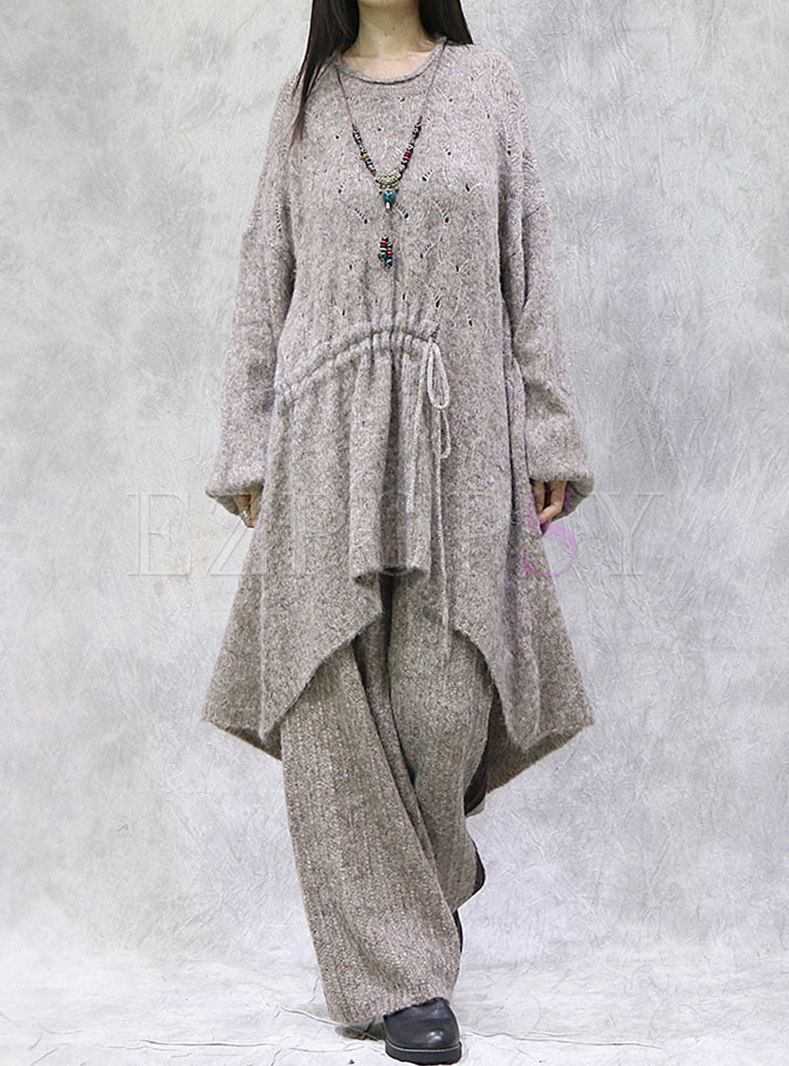 Plus Size Long Sleeve Sweater Loose Pant Suits