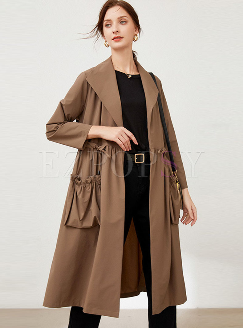 Plus Size Drawstring Smocked Trench Coat