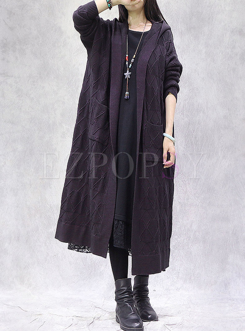 Brief Plus Size Hooded Long Cardigan Coat
