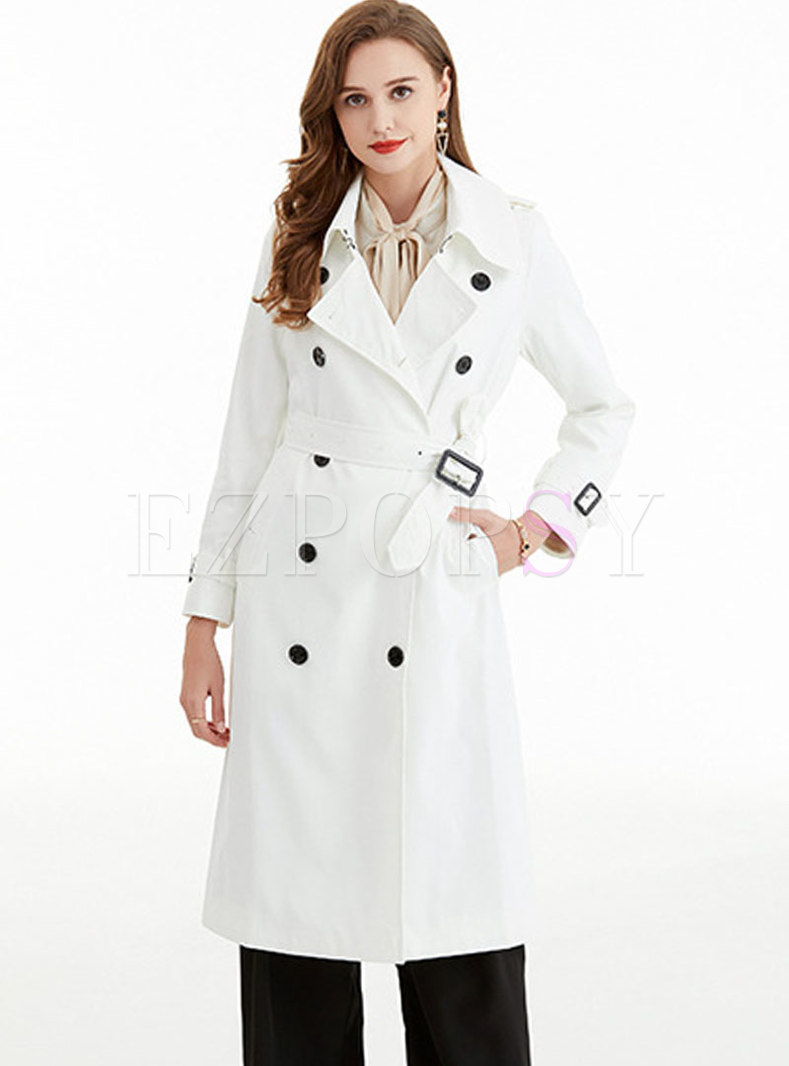Casual Double-breasted Belted Loose Trench Coat