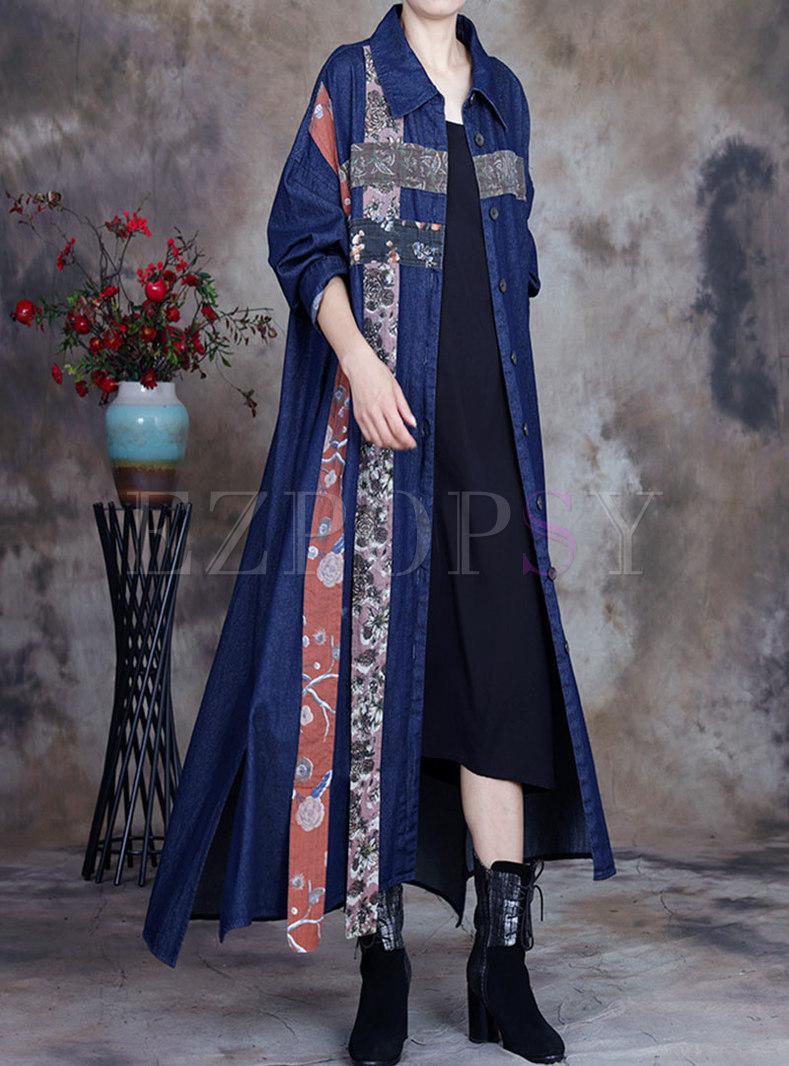 Plus Size Floral Patchwork Long Denim Trench Coat