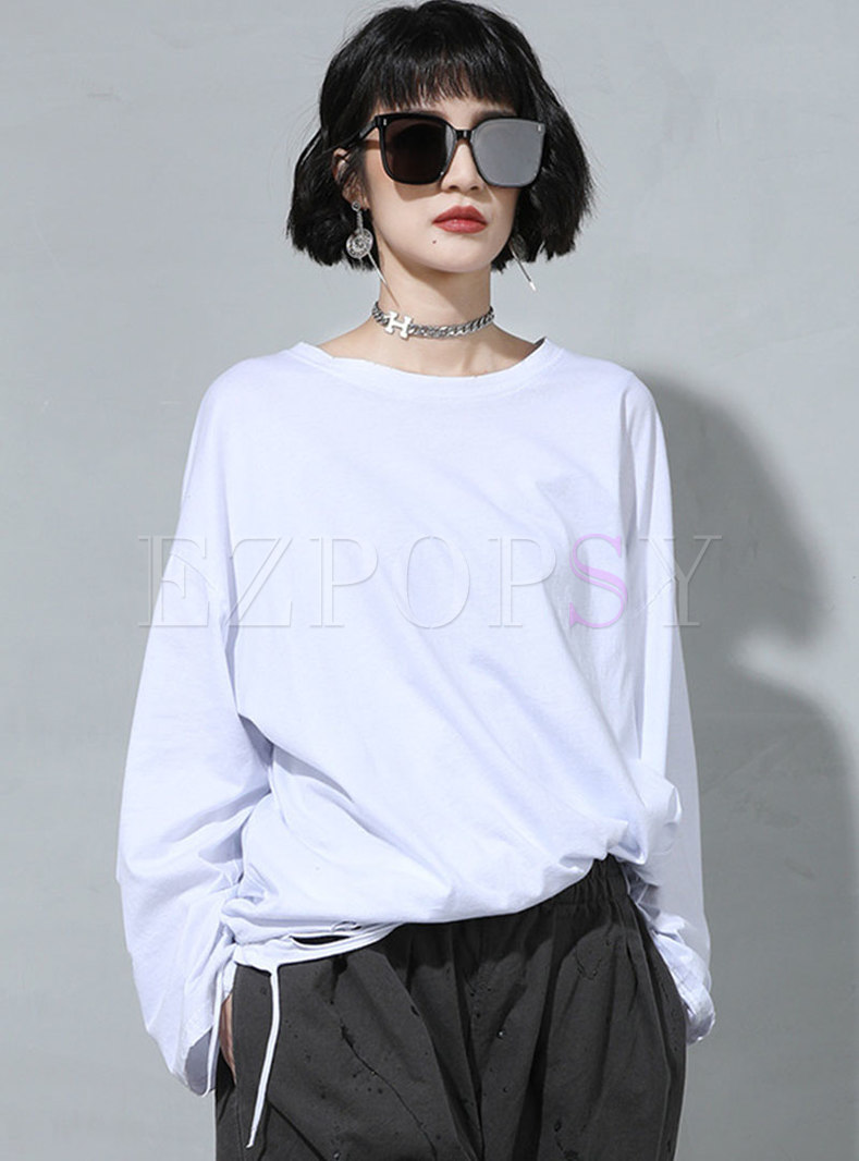 Plus Size Long Sleeve Pullover Ripped T-shirt
