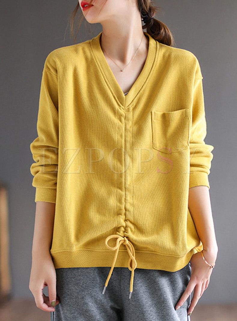 V-neck Drawstring Pullover Loose Sweatshirt