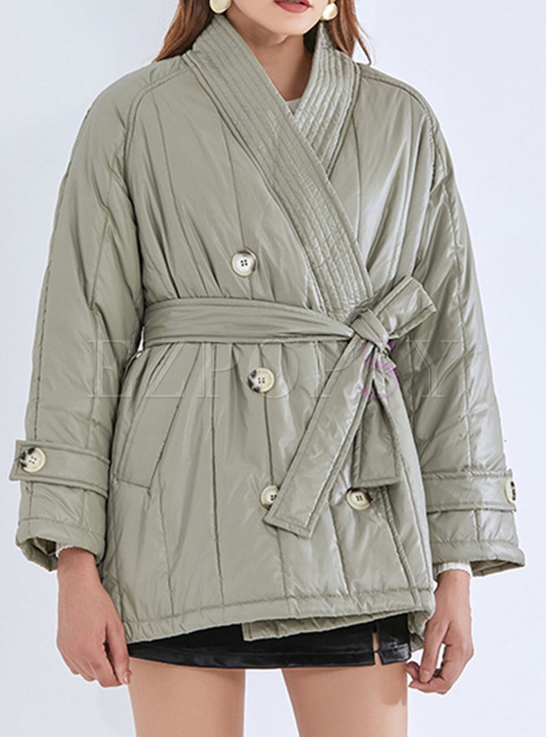 V-neck Double-breasted Wrap Cotton-padded Coat