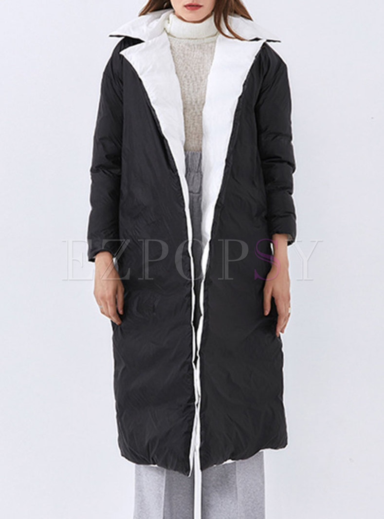 Notched Reversible Long Wrap Straight Coat
