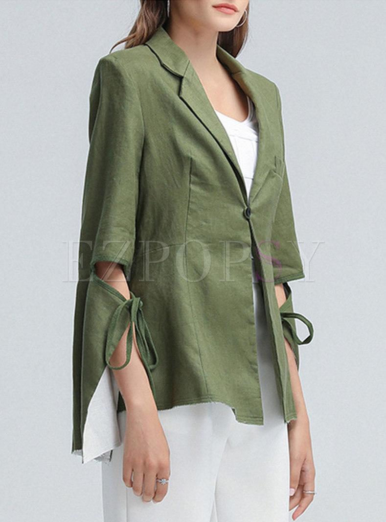 Irregular Long Sleeve One Button Blazer