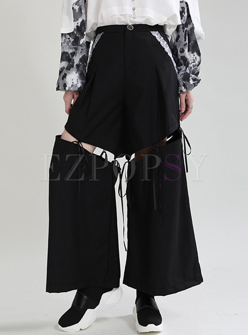 High Waisted Removable Wide Leg Pants