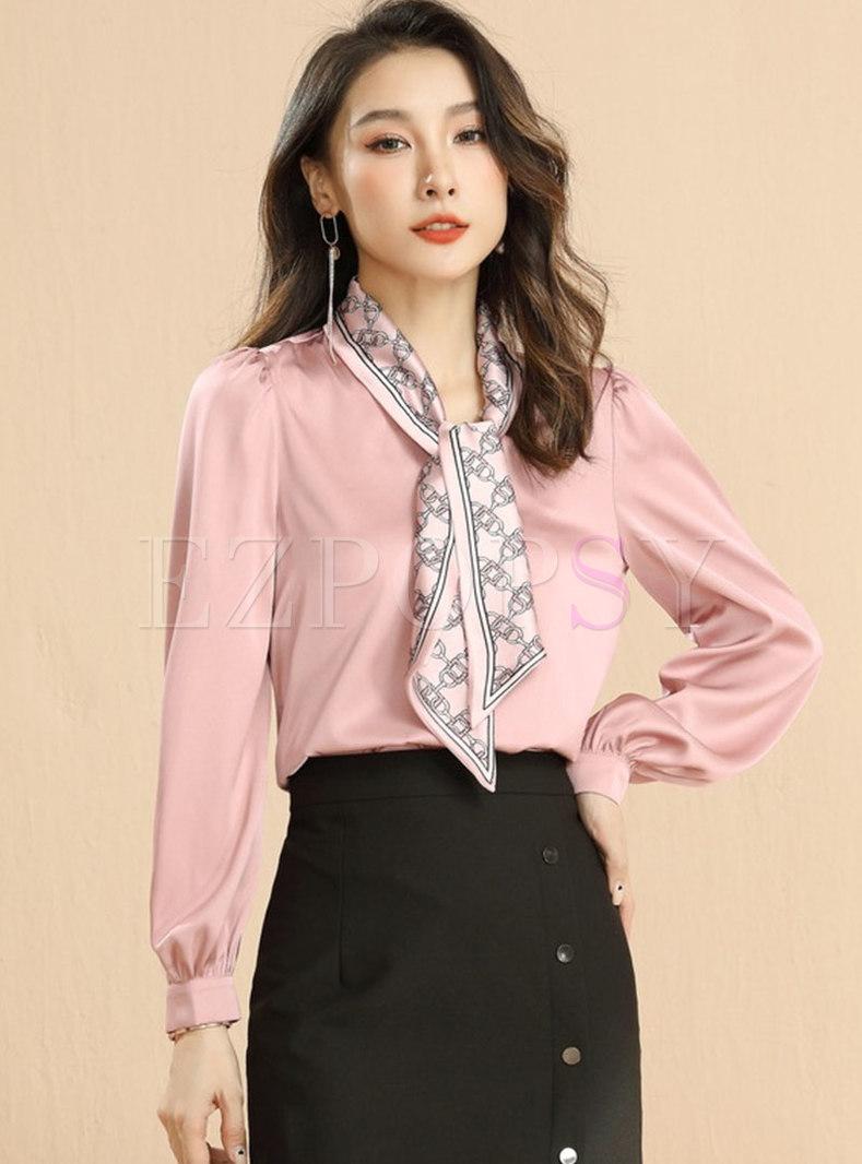 Ribbon Satin Pullover Pink Long Sleeve Blouse