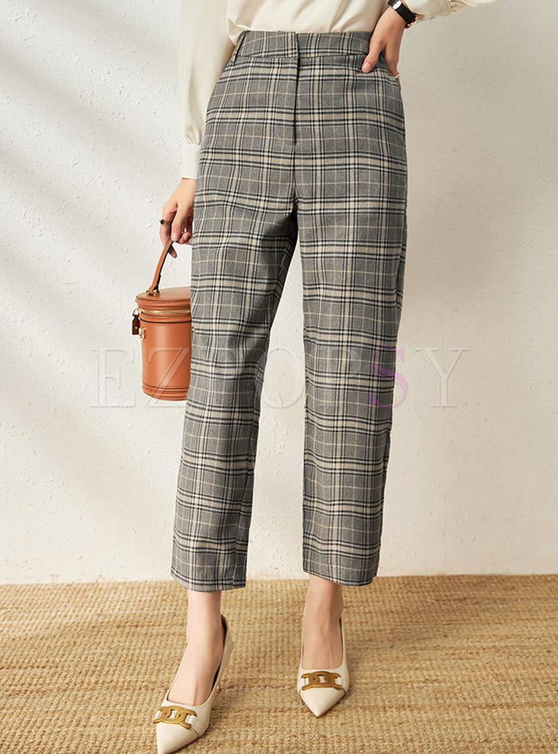 High Waisted Plaid Straight Dress Pants