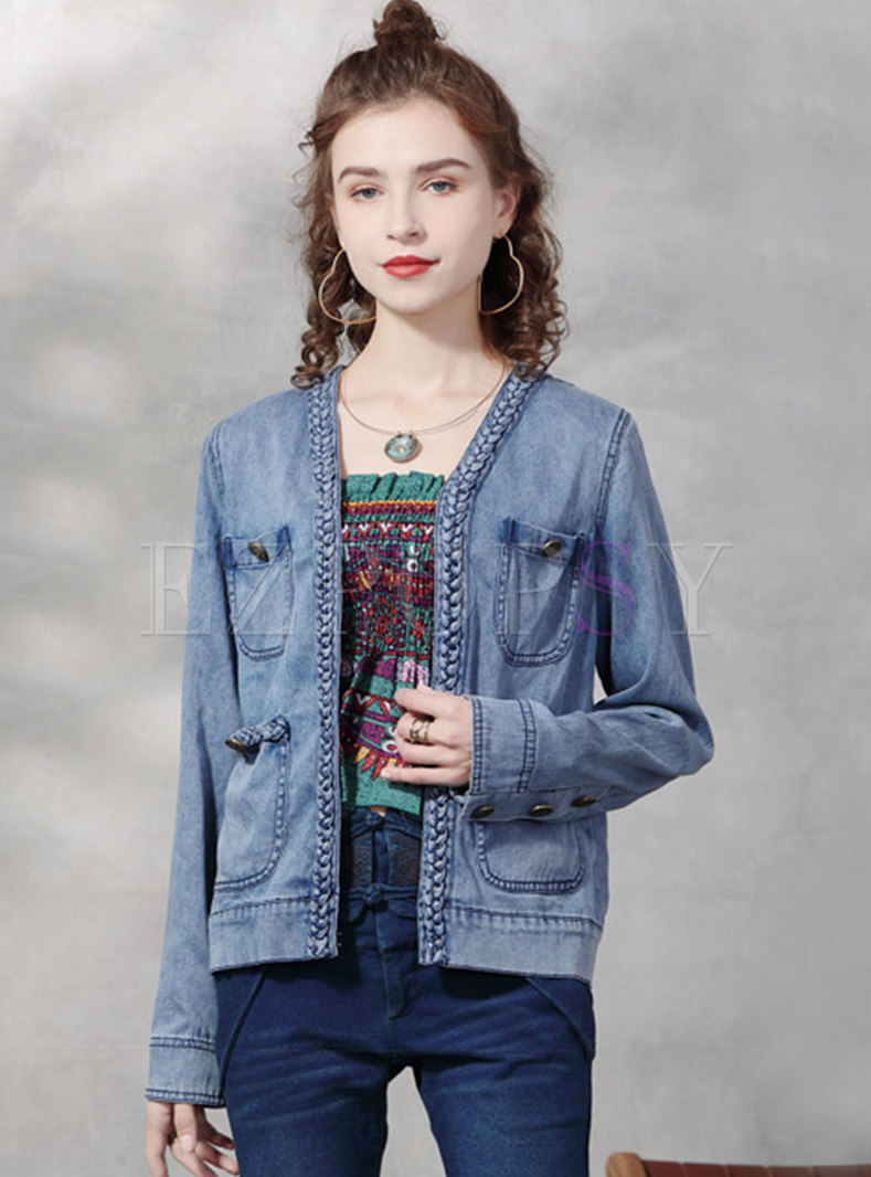 V-neck Single-breasted Straight Denim Coat