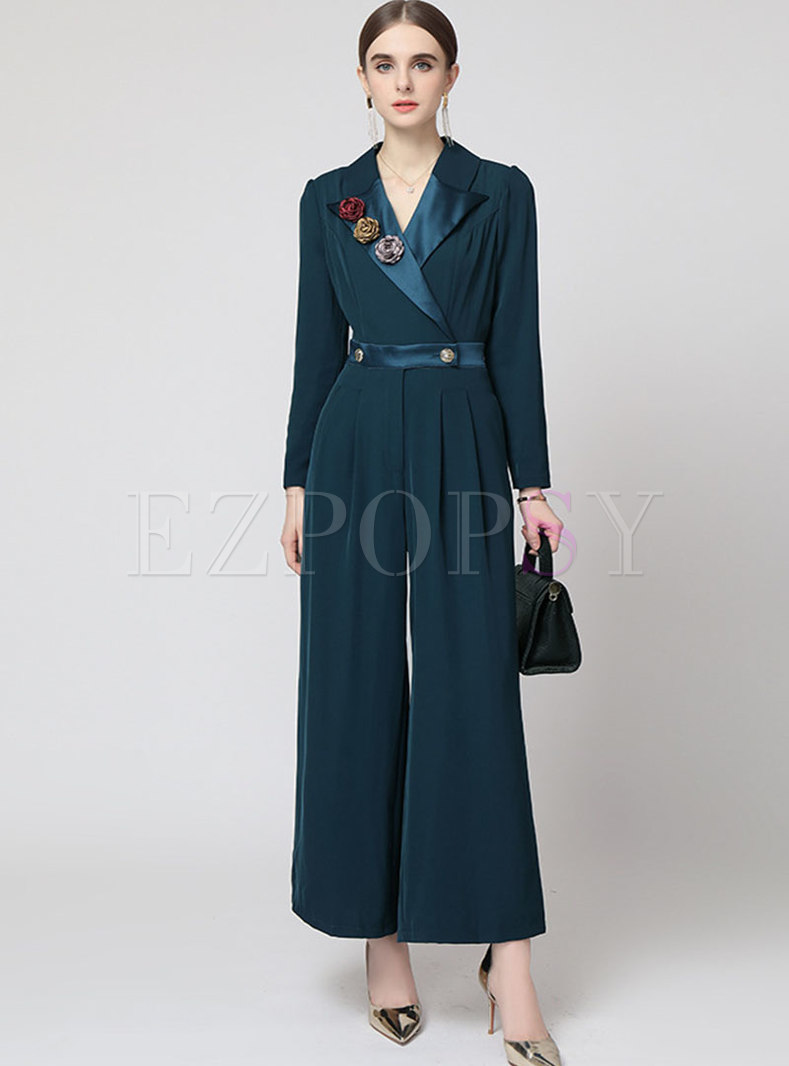 Notched Collar High Waisted Wide Leg Jumpsuits