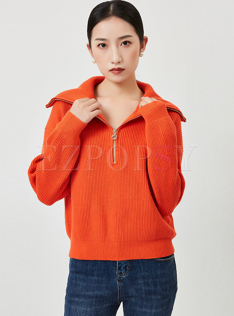 Long Sleeve Pullover Ribbed Loose Sweater