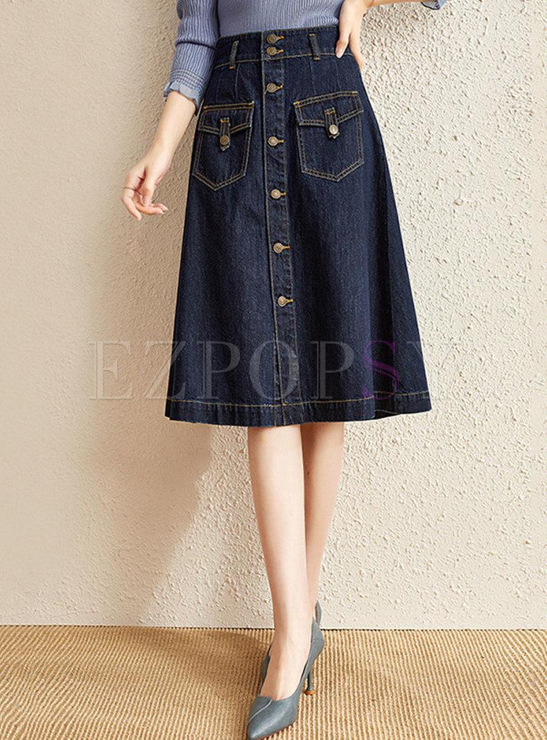 High Waisted A Line Denim Midi Skirt