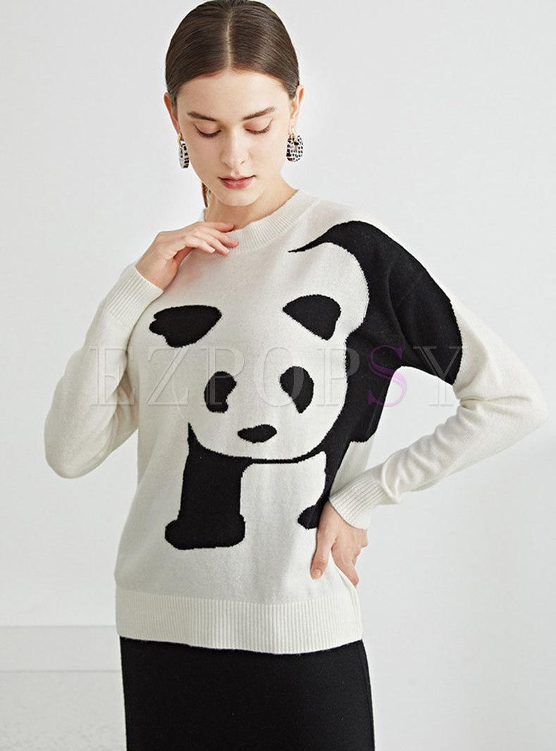 Crew Neck Animal Print Pullover Wool Sweater