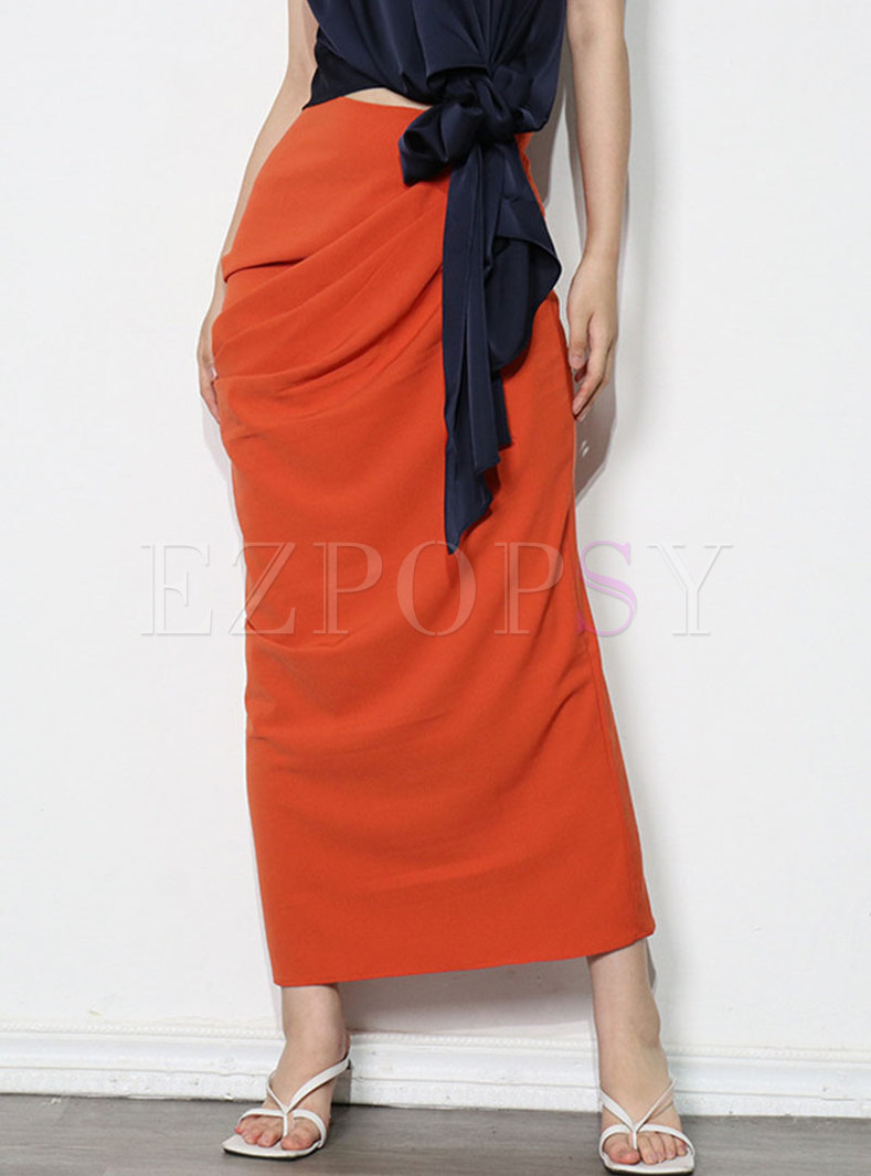 High Waisted Ruched Straight Maxi Skirt