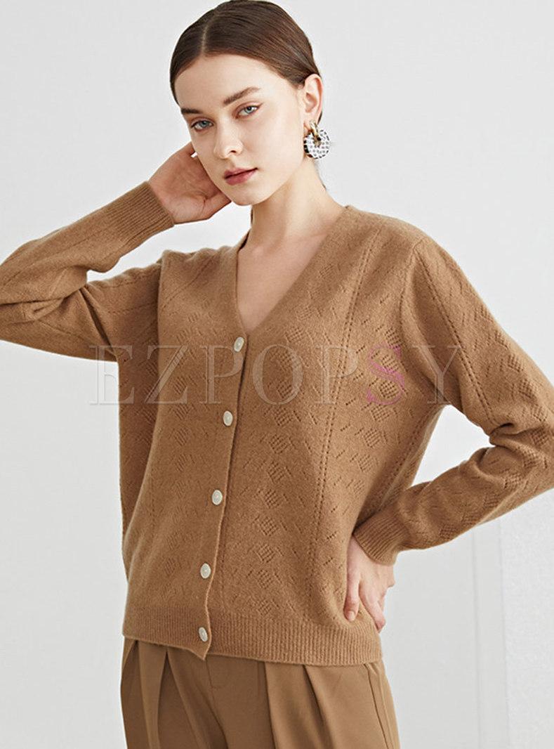 Long Sleeve Single-breasted Wool Cardigan
