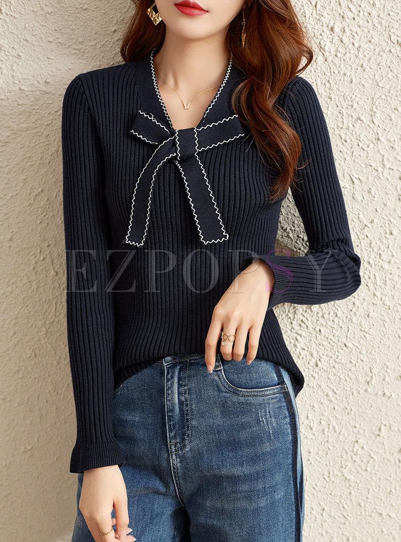 Bowknot V-neck Pullover Ribbed Slim Sweater