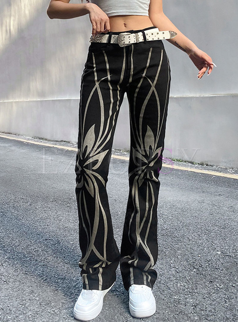 Retro Low Rise Print Straight Pants