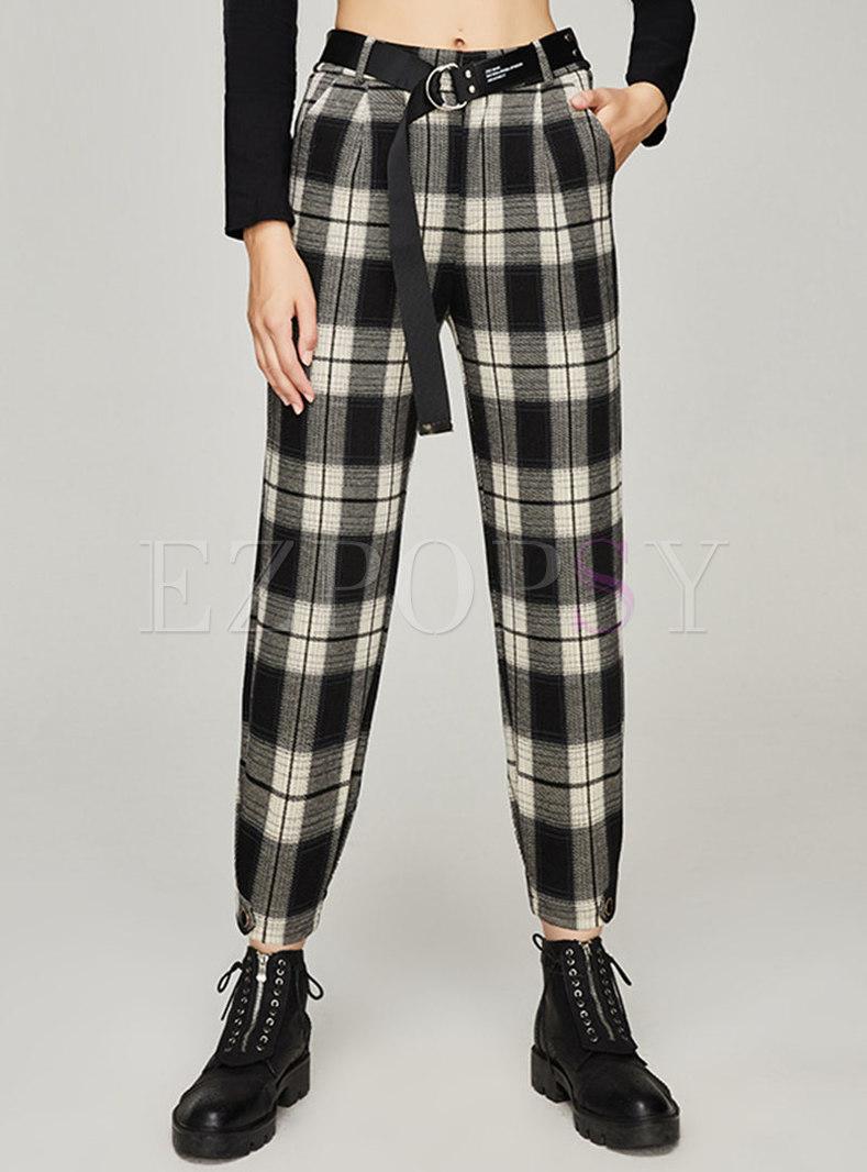 Casual High Waisted Plaid Cropped Harem Pants