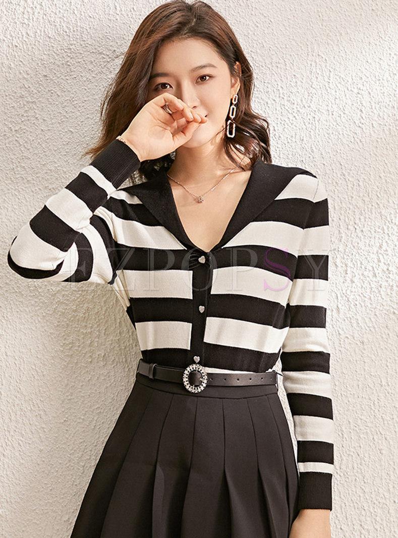 V-neck Long Sleeve Striped Sweater Cardigan