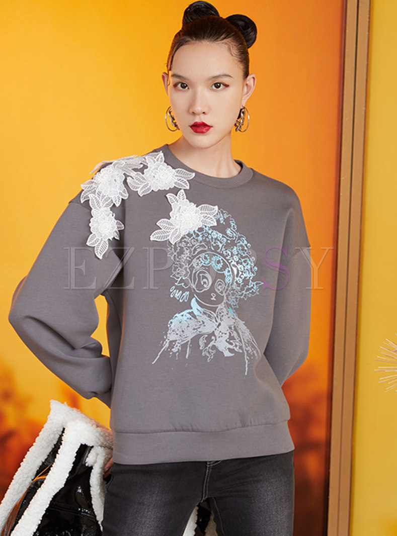 Crew Neck Beaded Flowers Patch Pullover Sweatshirt
