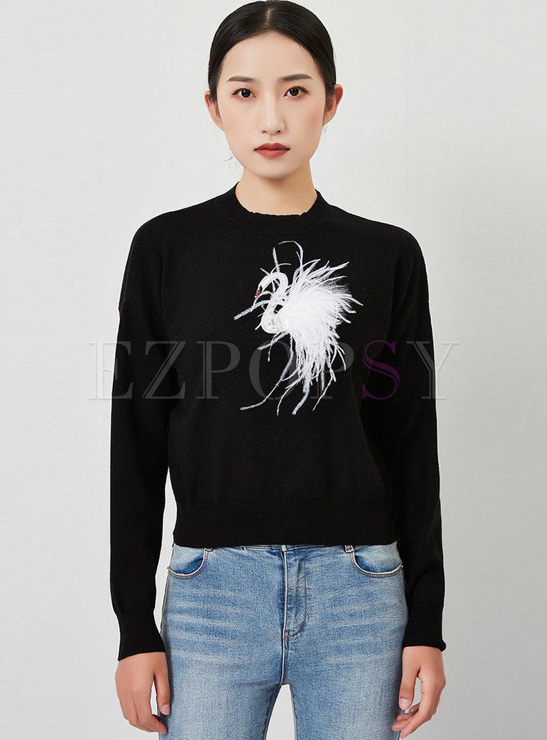 Diamante Feather Design Pullover Sweater