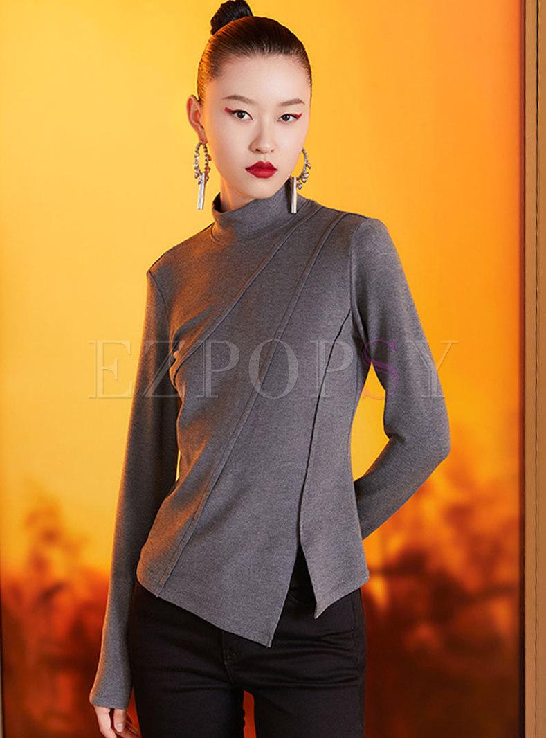 Turtleneck Pullover Long Sleeve Asymmetric Tee