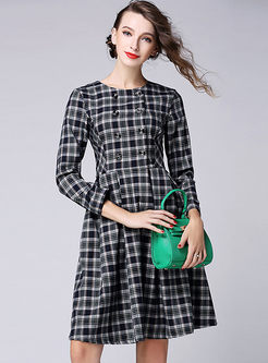 retro fashion o neck aline plaid dress. Black Bedroom Furniture Sets. Home Design Ideas