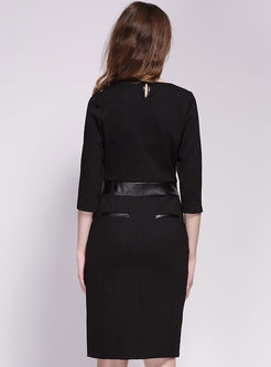 Single Breasted Half Sleeve Black Office Dress Ezpopsy Com