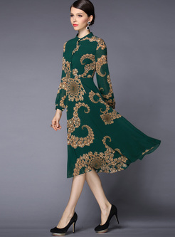 Long Sleeve Print Chiffon A Line Dress