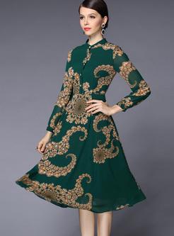 Long Sleeve Print Chiffon A Line Dress