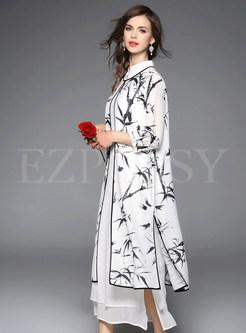 White Long Dress With Print Coat | Ezpopsy.com