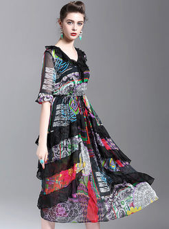 V-neck Silk Print Maxi Dress