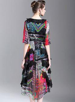 V-neck Silk Print Maxi Dress