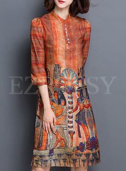 Silk Vintage Print Straight Dress