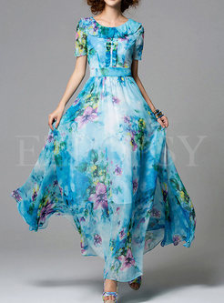 Summer Bohemian O-Neck Chiffon Maxi Dress