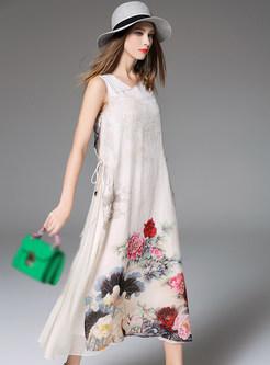 Irregular Neck Patch Print Maxi Dress