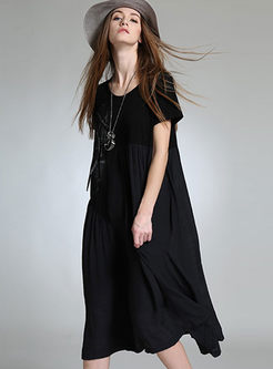 Asymmetric Chiffon Print Loose Maxi Dress